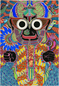 Jaganath by Malavika Reddy, Expressionism Painting, Mixed Media on Paper, Brown color