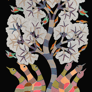 Gond art by Rajendra Kumar Shyam , Tribal Painting, Acrylic on Canvas, Brown color