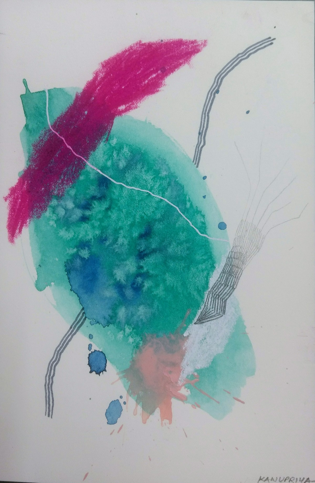 Plankton by Kanupriya Bakshi, Abstract Painting, Mixed Media on Paper, Gray color