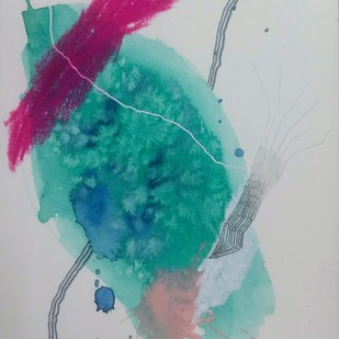 Plankton by Kanupriya Bakshi, Abstract Painting, Mixed Media on Paper, Gray color