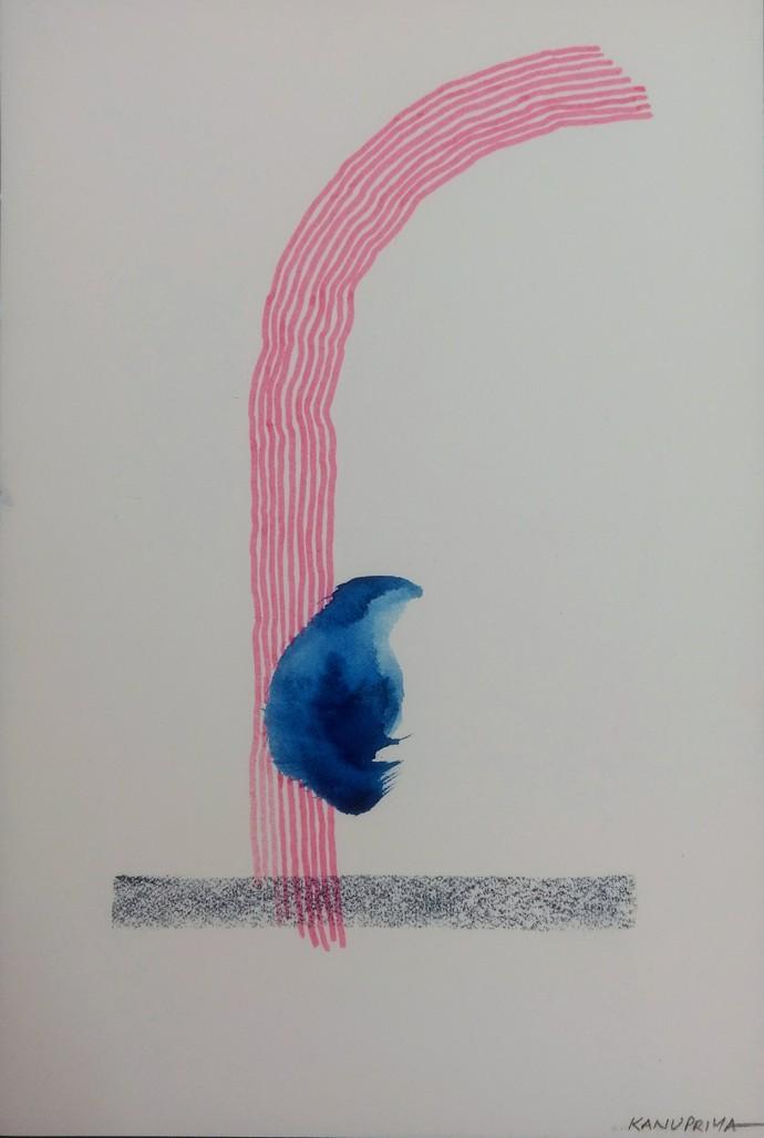 Silence by Kanupriya Bakshi, Abstract Painting, Mixed Media on Paper, Gray color