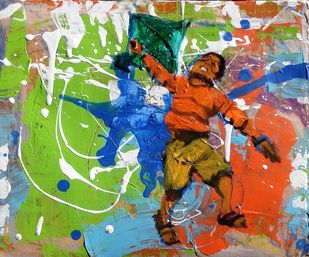 PatangBaaj by Sreenivasa Ram Makineedi, Expressionism Painting, Oil & Acrylic on Board, Green color