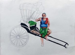 kolkata rickshaw by Sreenivasa Ram Makineedi, Expressionism Painting, Watercolor on Paper, Gray color