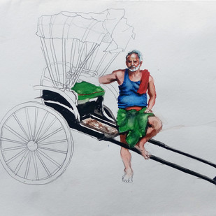 kolkata rickshaw by Sreenivasa Ram Makineedi, Expressionism Painting, Watercolor on Paper, Gray color