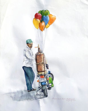 Balloon Man by Sreenivasa Ram Makineedi, Impressionism Painting, Watercolor on Paper, White color