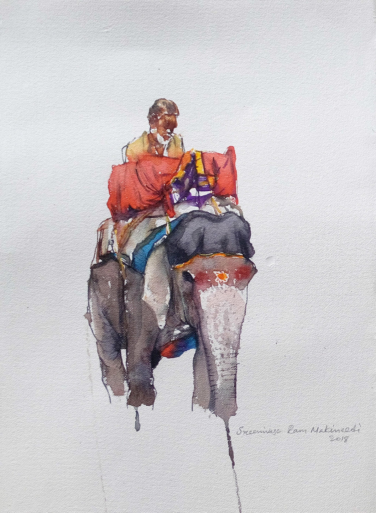 Man on Elephant by Sreenivasa Ram Makineedi, Impressionism Painting, Watercolor & Ink on Paper, Gray color