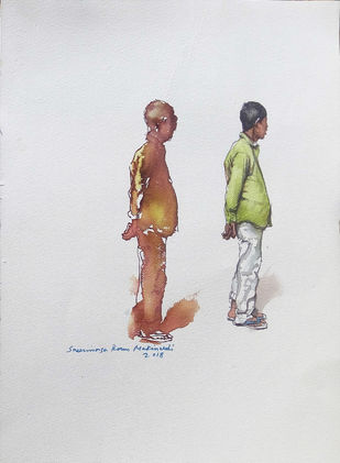 Man vs Man by Sreenivasa Ram Makineedi, Impressionism Painting, Watercolor & Ink on Paper, Gray color