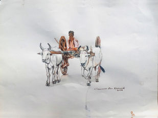 Oxcart by Sreenivasa Ram Makineedi, Impressionism Painting, Watercolor on Paper, Gray color