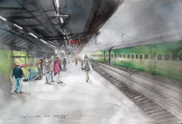 platform no.1 by Sreenivasa Ram Makineedi, Impressionism Painting, Watercolor on Paper, Gray color