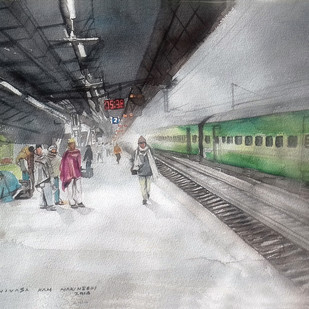 platform no.1 by Sreenivasa Ram Makineedi, Impressionism Painting, Watercolor on Paper, Gray color