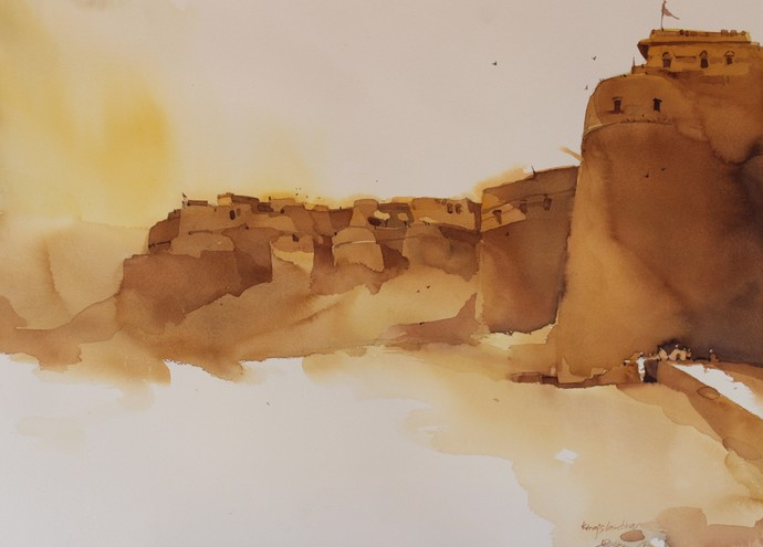 King's landings @ Jaisalmer by Prashant Prabhu, Impressionism Painting, Watercolor on Paper, Beige color