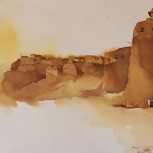 King's landings @ Jaisalmer by Prashant Prabhu, Impressionism Painting, Watercolor on Paper, Beige color