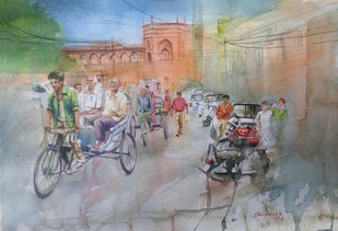 Bikaner Street by Sreenivasa Ram Makineedi, Impressionism Painting, Watercolor on Paper, Gray color
