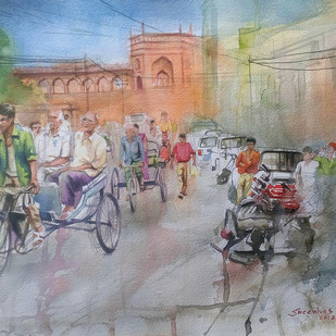 Bikaner Street by Sreenivasa Ram Makineedi, Impressionism Painting, Watercolor on Paper, Gray color
