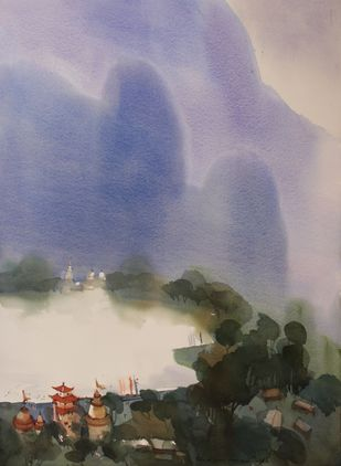 Revalsar remembers by Prashant Prabhu, Impressionism Painting, Watercolor on Paper, Brown color