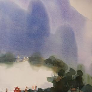 Revalsar remembers by Prashant Prabhu, Impressionism Painting, Watercolor on Paper, Brown color