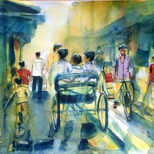 busy street by Sreenivasa Ram Makineedi, Impressionism Painting, Watercolor on Paper, Green color