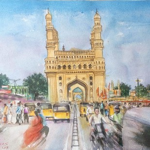 Busy Charminar by Sreenivasa Ram Makineedi, Impressionism Painting, Watercolor on Paper, Cyan color