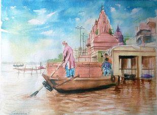 varanasi Ghat by Sreenivasa Ram Makineedi, Impressionism Painting, Watercolor on Paper, Brown color