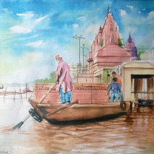 varanasi Ghat by Sreenivasa Ram Makineedi, Impressionism Painting, Watercolor on Paper, Brown color