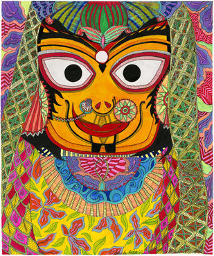 Subhadra by Malavika Reddy, Pop Art Painting, Mixed Media on Paper, Brown color