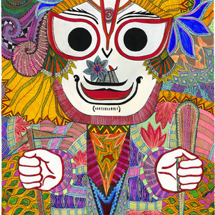 Balram by Malavika Reddy, Pop Art Painting, Mixed Media on Paper, Brown color