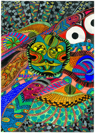 The 3rd Eye by Malavika Reddy, Art Deco Painting, Mixed Media on Paper, Green color