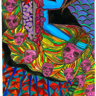 Kali by Malavika Reddy, Pop Art Painting, Mixed Media on Paper, Brown color