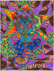 Avighna by Malavika Reddy, Pop Art Painting, Mixed Media on Paper, Brown color