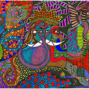 Panchmukh by Malavika Reddy, Pop Art Painting, Mixed Media on Paper, Brown color