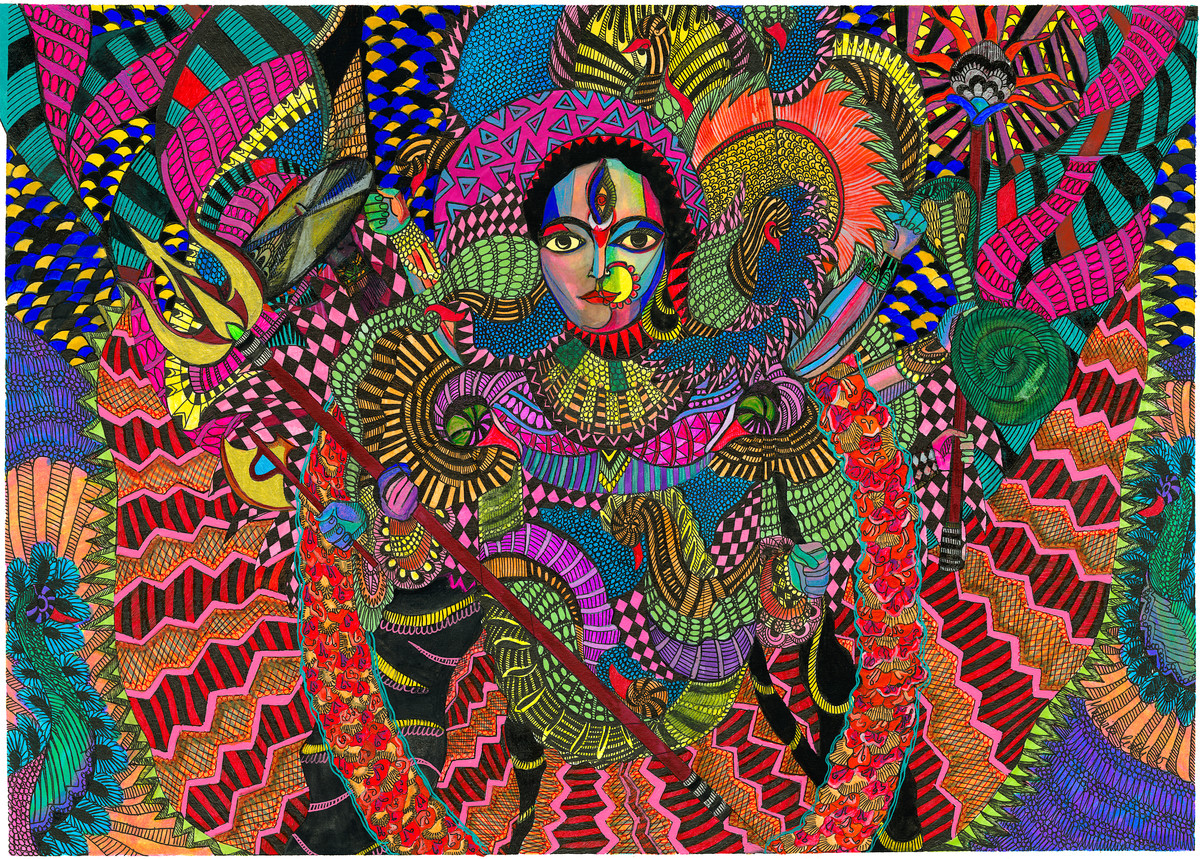 Durga ye by Malavika Reddy, Pop Art Painting, Mixed Media on Paper, Brown color