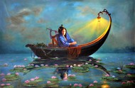 Royal Raas Night - Part 1 by Hitesh Hariom, Fantasy Painting, Oil on Canvas, Green color