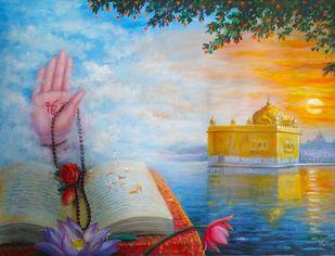 Prakashotsav by Hitesh Hariom, Realism Painting, Oil on Canvas, Cyan color
