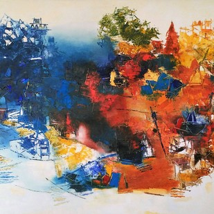 Banaras 02- 2018 by Anand Narain, Abstract Painting, Oil on Canvas, Beige color