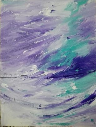 Winter hues finger printing by Broti Ganguly, Abstract Painting, Acrylic on Canvas, Gray color