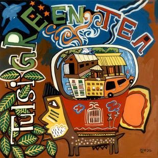 Tulsi Green Tea by Shubharanjan Paul, Pop Art Painting, Mixed Media on Paper, Brown color