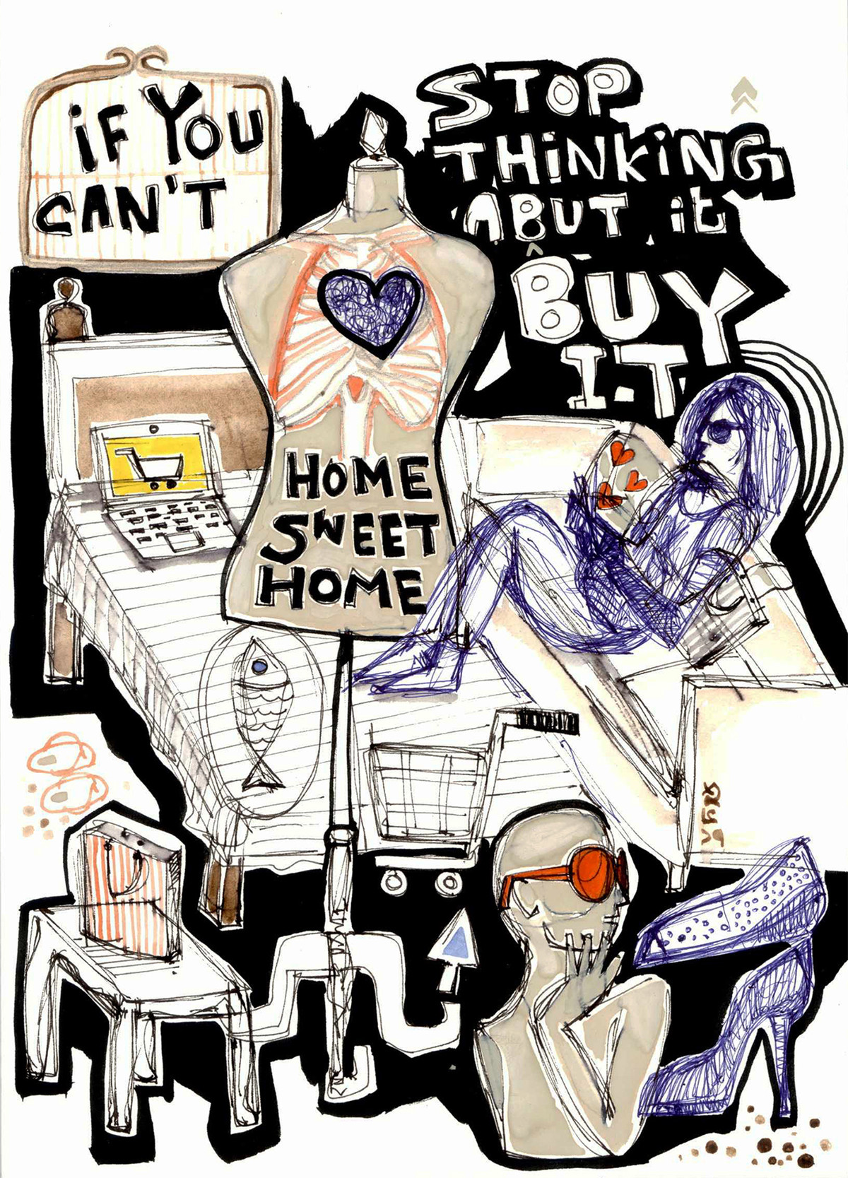 Home Sweet Home by Shubharanjan Paul, Pop Art Drawing, Mixed Media on Paper, Gray color