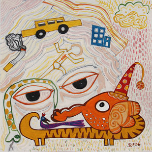 Fighting My Own by Shubharanjan Paul, Pop Art Painting, Mixed Media on Paper, Beige color