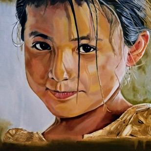 Adornment of innocence by Jatin Satsangi, Expressionism Painting, Oil on Canvas, Brown color
