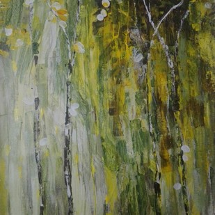 Easy breezy finger printing by Broti Ganguly, Abstract Painting, Acrylic on Canvas, Green color