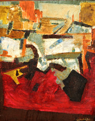 Abstract 1 by Anand Swaroop, Abstract Painting, Oil on Canvas, Brown color