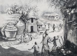 Daily Life Of An Indian Village ll by Anirban Seth, Illustration Painting, Acrylic on Canvas, Gray color