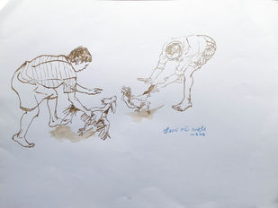 Cockfight. by Sreenivasa Ram Makineedi, Expressionism Painting, Watercolor on Paper, Gray color