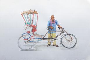 varanasi rickshaw man. by Sreenivasa Ram Makineedi, Expressionism Painting, Watercolor on Paper, Gray color