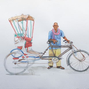 varanasi rickshaw man. by Sreenivasa Ram Makineedi, Expressionism Painting, Watercolor on Paper, Gray color