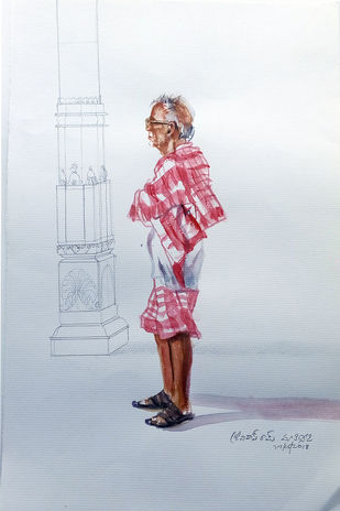old man and the pillar by Sreenivasa Ram Makineedi, Expressionism Painting, Watercolor on Paper, Pink color