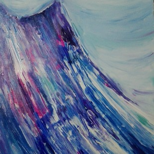 Kailash finger printing by Broti Ganguly, Abstract Painting, Acrylic on Canvas, Blue color