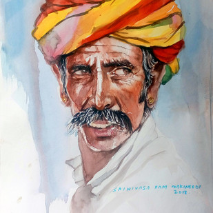Portrait of Pushkar man by Sreenivasa Ram Makineedi, Expressionism Painting, Watercolor on Paper, Gray color