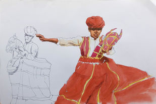 Rajasthani folk dance. by Sreenivasa Ram Makineedi, Expressionism Painting, Watercolor on Paper, Gray color