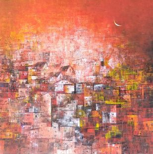 Village in red by M Singh, Geometrical Painting, Acrylic on Canvas, Brown color